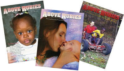 Above Rubies magazine covers