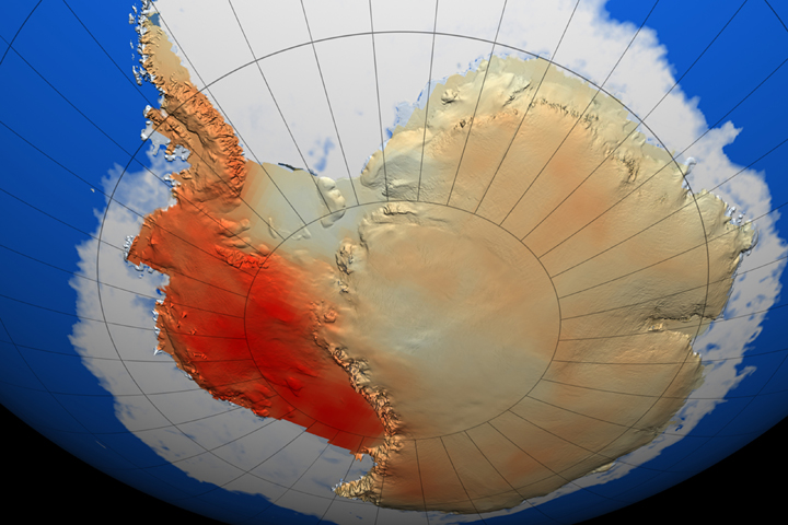 temperature change in Antarctica