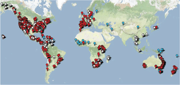 Worldwide distribution of Batrachochytrium dendrobatidis (Bd), the amphibian chytrid fungus