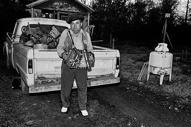 Nathan Abshire at home, Basile, Louisiana, 1977