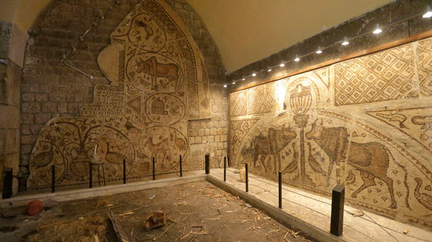 Mosaics inside the museum of Maarat in 2012 before the sandbagging Hussein Malla/AP