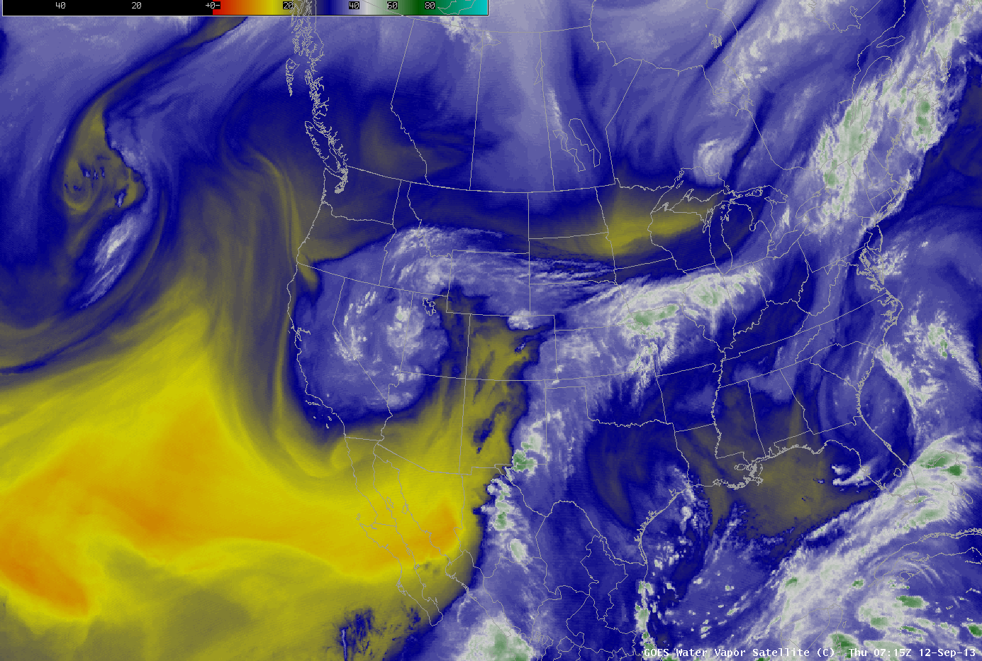 Water vapor satellite image showing tropical moisture pulled over Colorado.