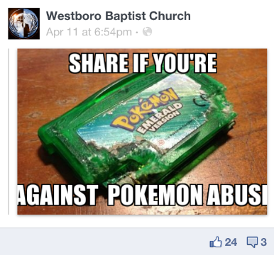 Pokemon abuse Westboro Baptist Church facebook hack