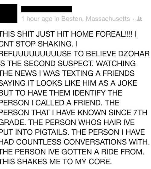 Dzhokhar Tsarnaev classmate reaction
