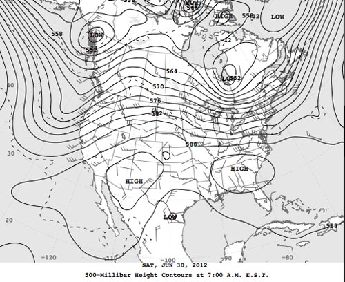 500 mb chart for 0700 30 June 2012. As high temperature dome slides into the Southeast another is developing in the Southwest:Note that another dome of high pressure is developing in the southwest again: NOAA