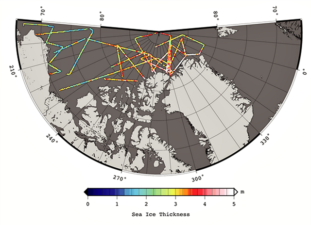 "Arctic sea ice thickness derived from the 2012 Operation IceBridge ""quick-look"" data products, spanning 14 March to 02 April 2012: S. Farrell and N. Kurtz, NASA Goddard Space Flight Center."