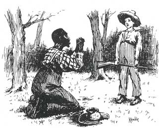 the theme of slavery in huckleberry finn by mark twain I was ever so glad to see jim i warn't lonesome, now set in the american  south before the civil war, this novel explores themes on slavery, growing up,.