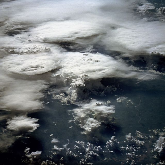Thunderstorms over Brazil: NASA astronaut photos via Wikimedia Commons