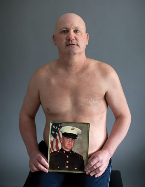 """I felt like a freak,"" Peter Devereaux recalls. ""I got no breasts! How can this be? I'm a Marine, I'm a badass!"": Photo: Grant Delin"