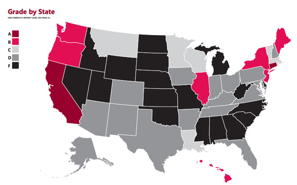 map of state grades on laws helping new parents