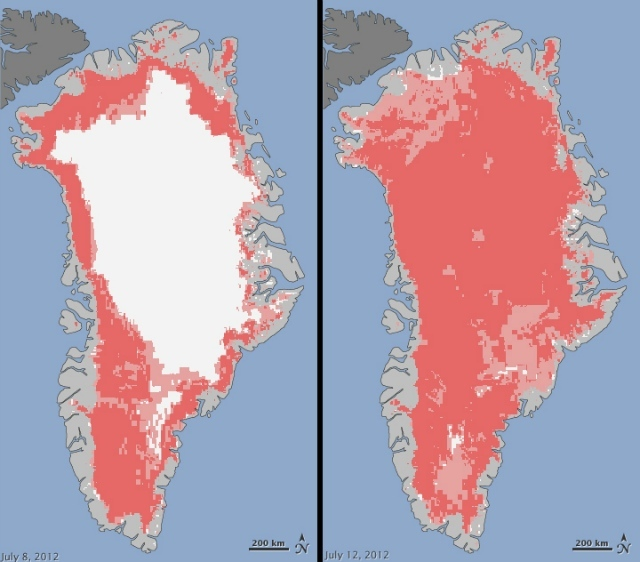 Extent of surface melt over Greenland's ice sheet on July 8, 2012 (left) and July 12, 2012 (right), melting shown in pink: Jesse Allen, NASA Earth Observatory and Nicolo E. DiGirolamo, SSAI and Cryospheric Sciences Laboratory