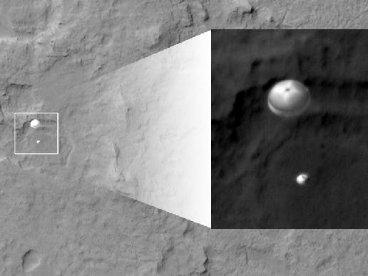 Curiosity Spotted on Parachute by Orbiter Credit: NASA/JPL-Caltech/Univ. of Arizona