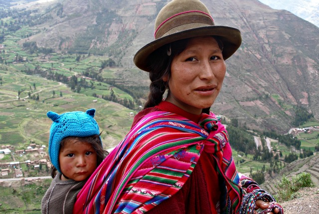 Quechua woman and  child, Peru: