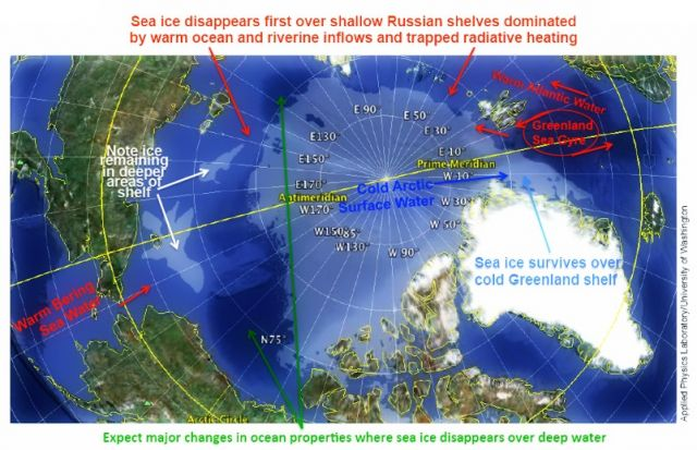 a snapshot of how ocean depth in the Arctic influences sea ice extent. Sea ice cover for August 28, 2012 is shown in semi-transparent white; ocean depths are indicated in blues, with deeper blues indicating greater depth: National Snow and Ice Data Center courtesy Jamie Morison/Applied Physics Laboratory, University of Washington