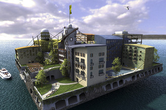One artists conception of a seastead. Seasteading.org