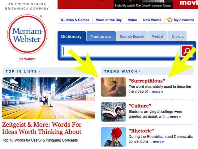 Screenshot courtesy of Merriam-Webster.com