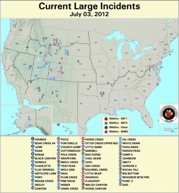 Current large wildlfires underway in the US: USDA