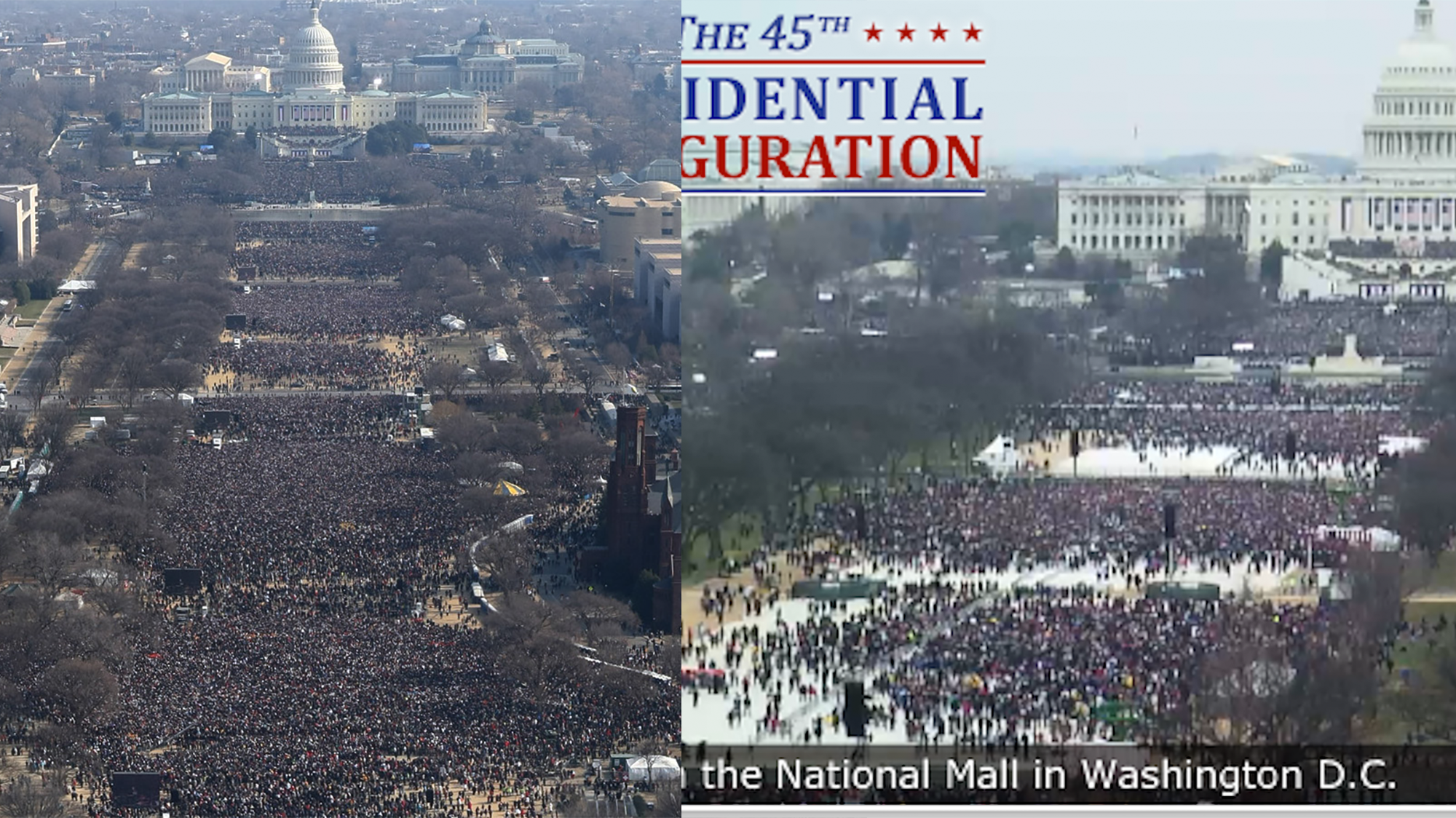 These Aerial Photos Show How Trump's Inauguration Crowd Compares to Obama's
