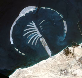 A sattelite photo of 'Jebel Ali Palm Island,' the second Palm Island to be  built off the coast of Dubai. Eventually, three palm-shaped artificial  islands will be built in the Dubai area. The first one, 'Jumeira Palm' is  almost completed.
