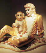 Photo of a statue of Michael Jackson and Bubbles