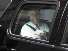 Romney in car