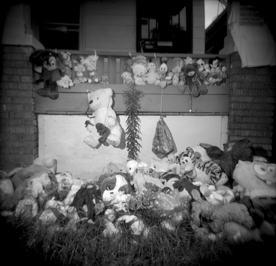 A makeshift memorial on Aiyana Stanley-Jones' porch in Detroit.