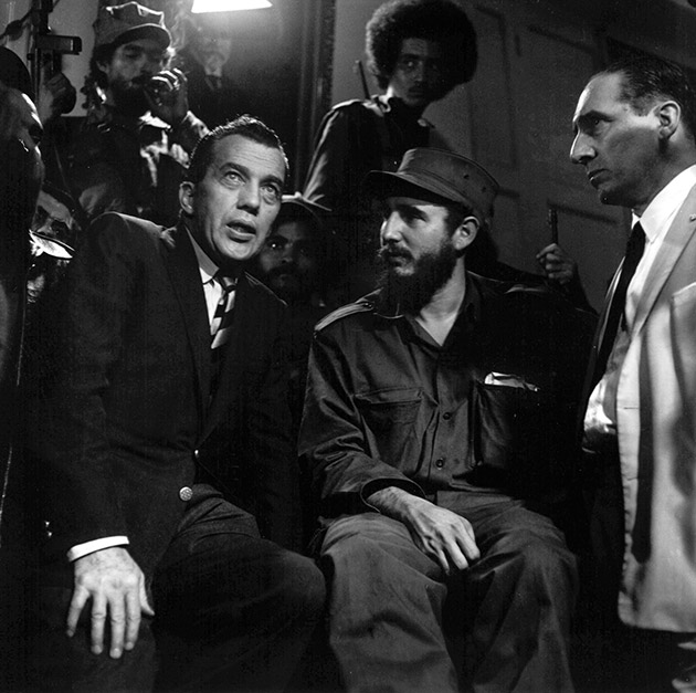 Fidel Castro talks with Ed Sullivan, television variety show host and N.Y. Daily News columnist, January 6, 1959.