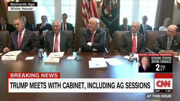 Trump presides over his fawning cabinet, June 12, 2017