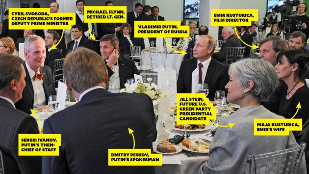 My dinner with Vlad: Gen. Michael Flynn and Jill Stein dine with Russian President Vladimir Putin in Moscow in December 2015.