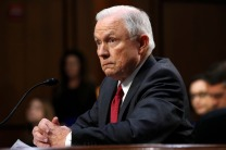 Jeff Sessions testifying to the Senate Intelligence Committee on June 13.