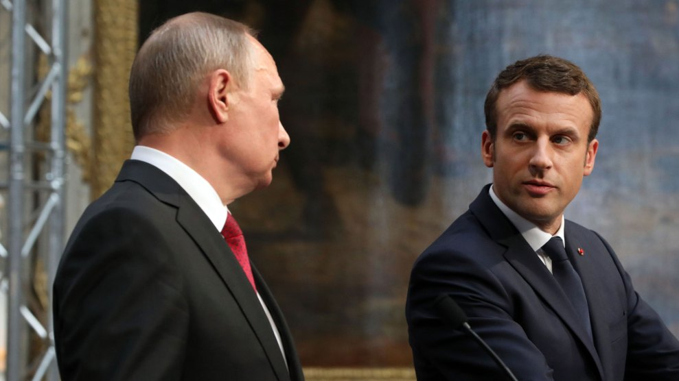 Newly elected French President Emmanuel Macron meets with Russian president Vladimir Putin in July.