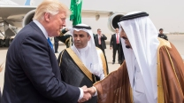 Donald Trump greets Saudi King Salman in Riyadh on May 20.
