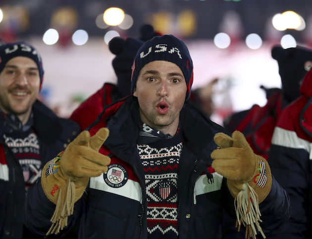 An athlete from team USA points during the opening ceremony of the 2018 Winter Olympics Clive Mason  Pool