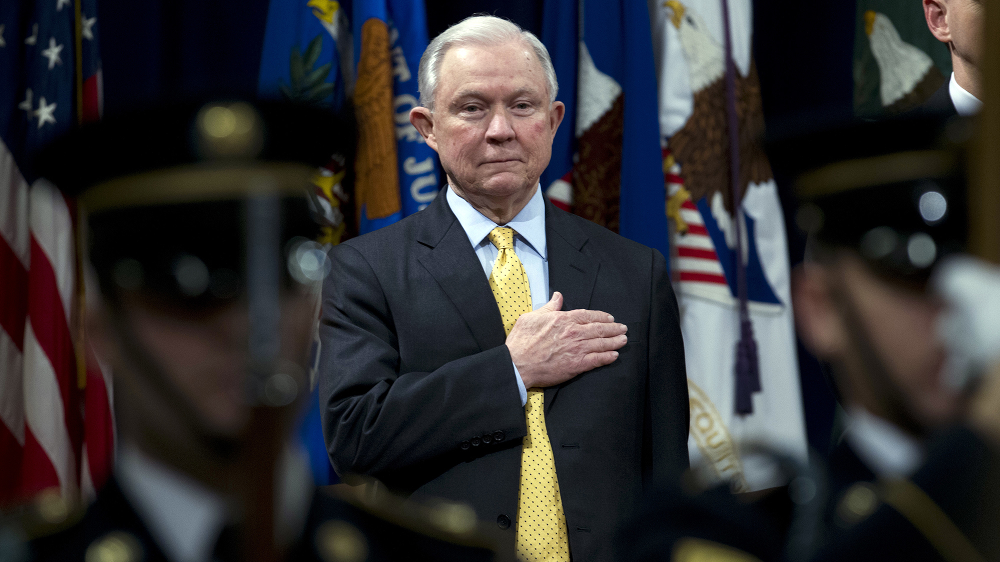 Attorney General Jeff Sessions at the Jusice Department on February