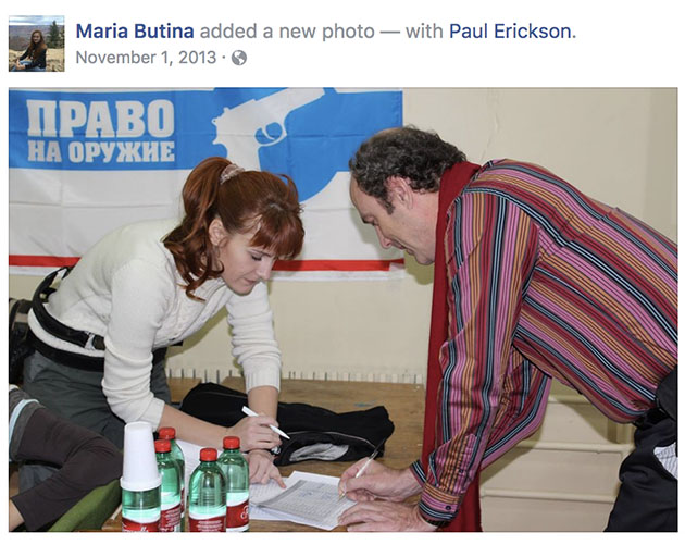 Butina and Erickson in Russia, in a photo posted in November 2013