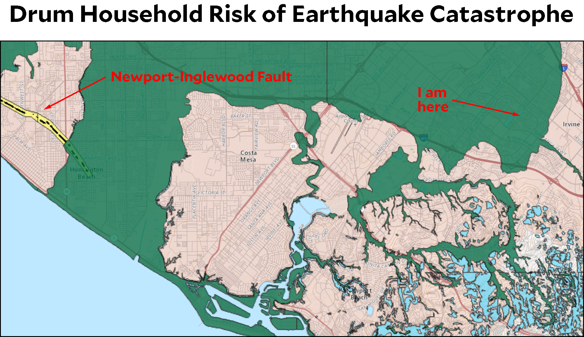 California introduces handy earthquake map mother jones the green color indicates that i live in both a fault zone and a liquification zone this is because most of irvine rests on a giant foundation of mud gumiabroncs Gallery