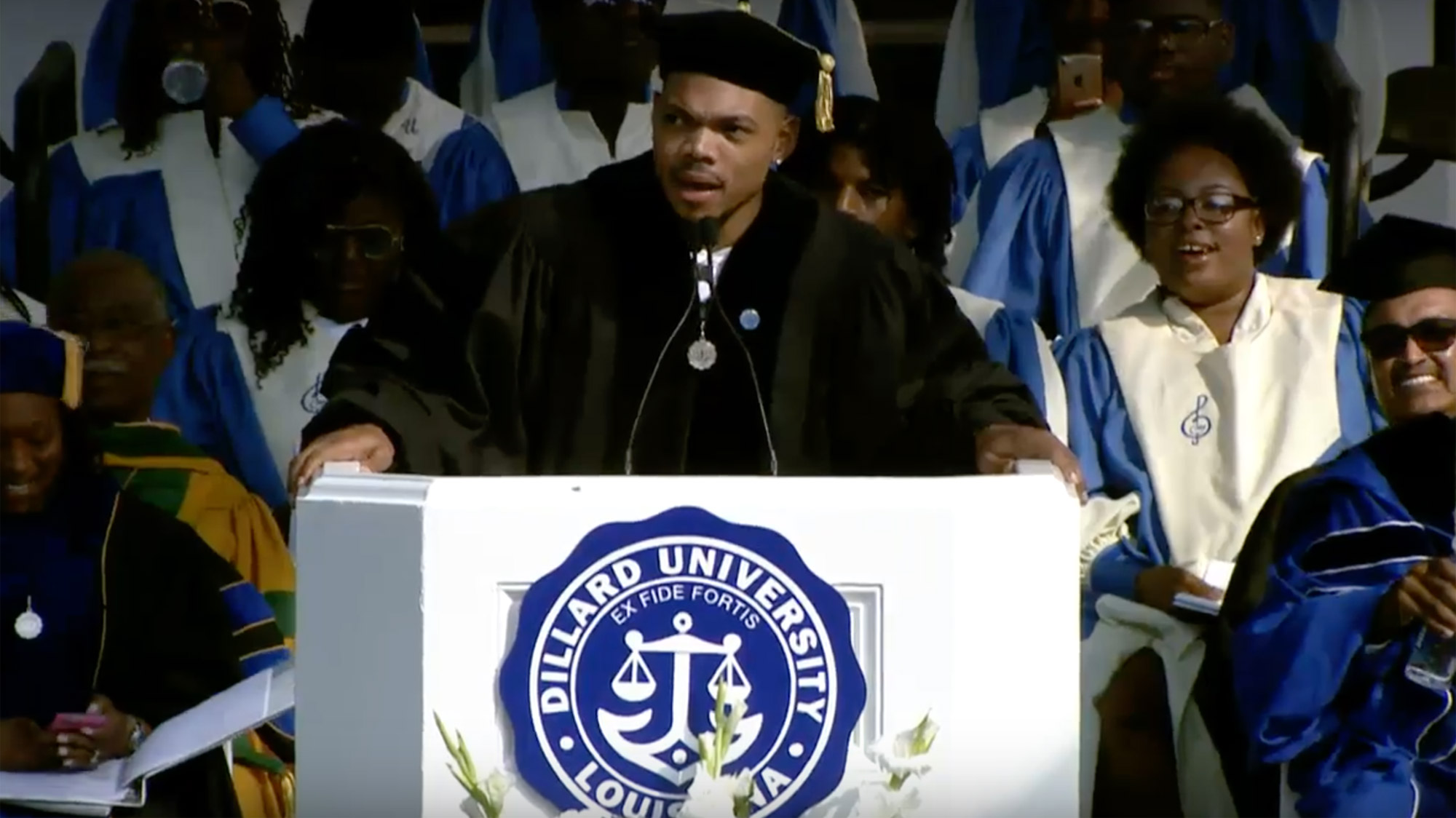 Chance the Rapper challenges Dillard University graduates to 'eclipse our heroes'