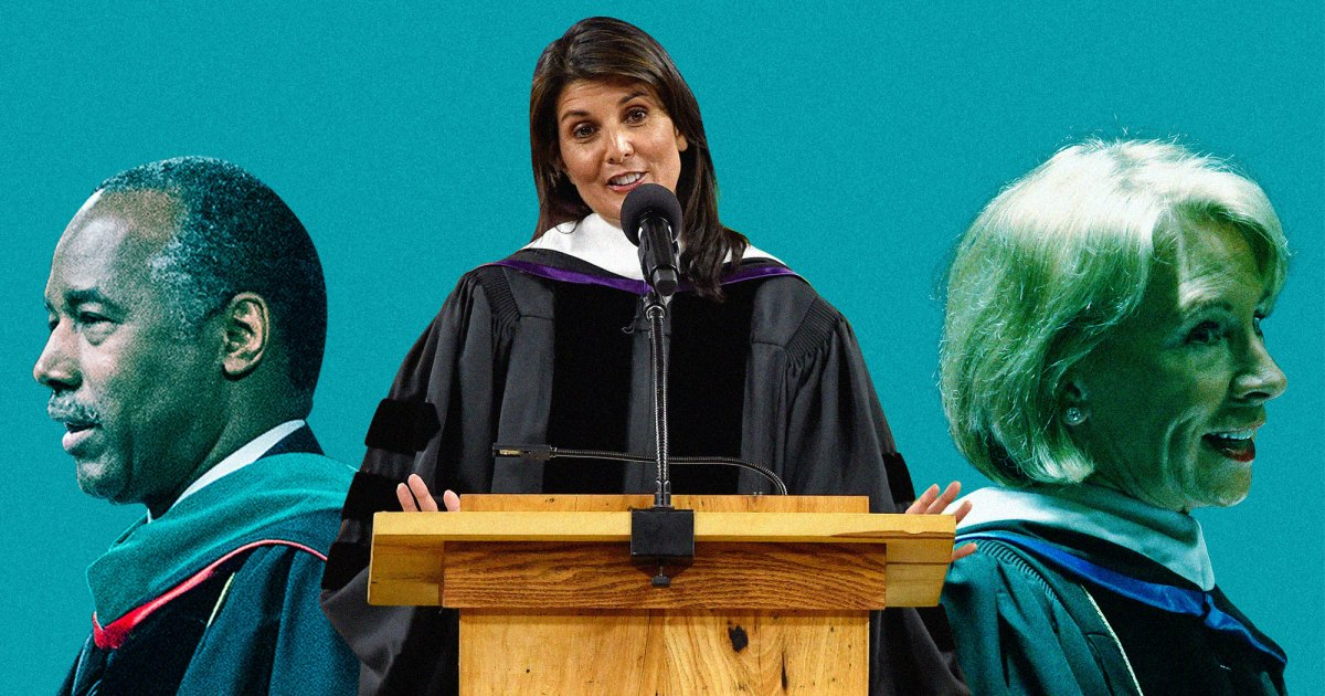 White House officials gave some oddball commencement speeches this year