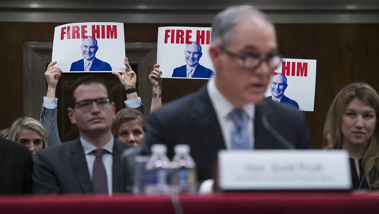 Protester With a Bottle of Lotion Interrupts Scott Pruitt Speech