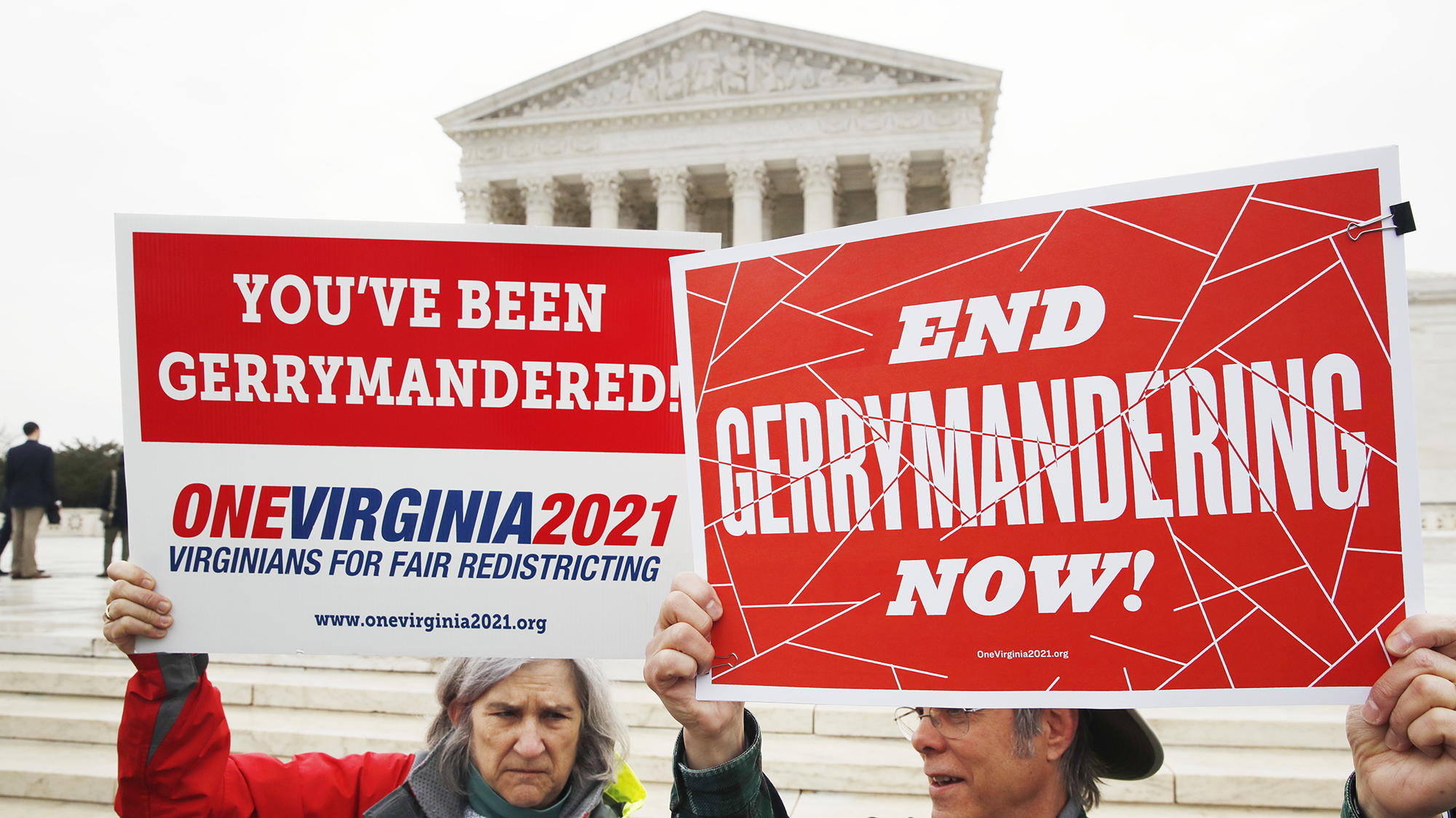 Protesters rally against partisan gerrymandering before the Supreme Court last