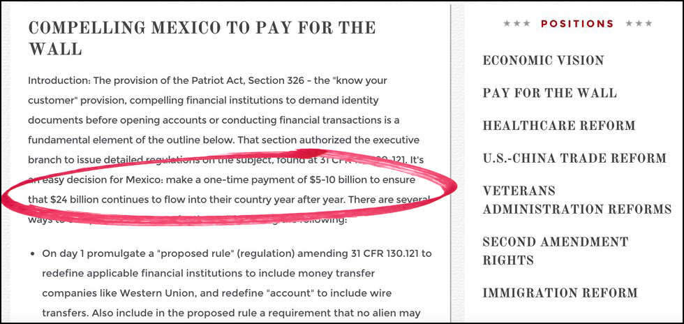 maybe mexico will pay for the wall maybe putin will pay for it or maybe trump will crowdsource it maybe warren buffett will write a check