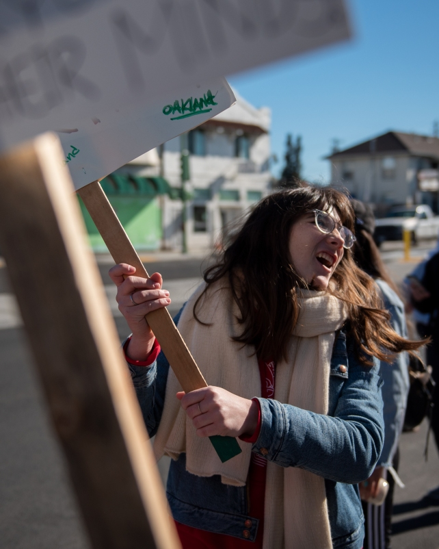 Kindergarten teacher Grace Allen joins supporters on a picket line outside Lockwood Elementary School in Oakland, Calif., on February 21, 2019.