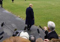 Trump walking away from microphones