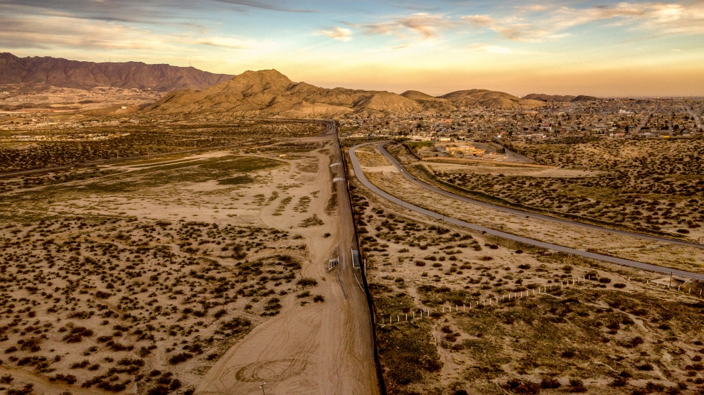 The border wall between the USA and Mexico in Arizona.