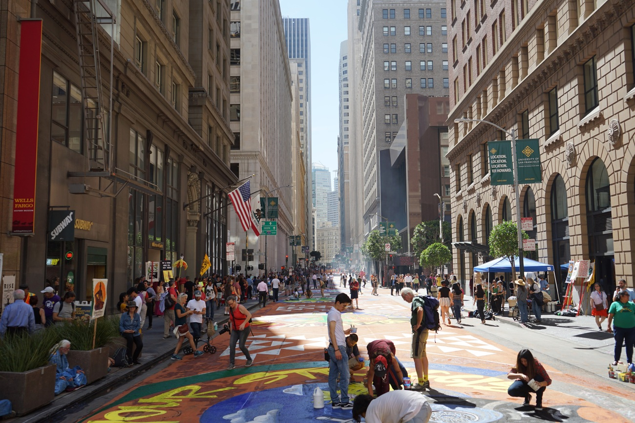 Murals painted by a coalition of activists stretched across four blocks in San Francisco's Financial District.