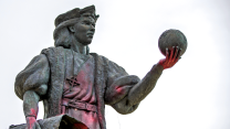A statue of Christopher Columbus in Mishawaka, Indiana was defaced during the week of Columbus Day in October 2017.