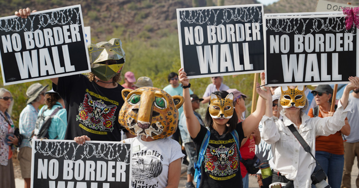 At a protest in Arizona, border communities fight Trump's wall.