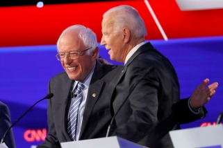 Biden, Bernie hug in October 2019
