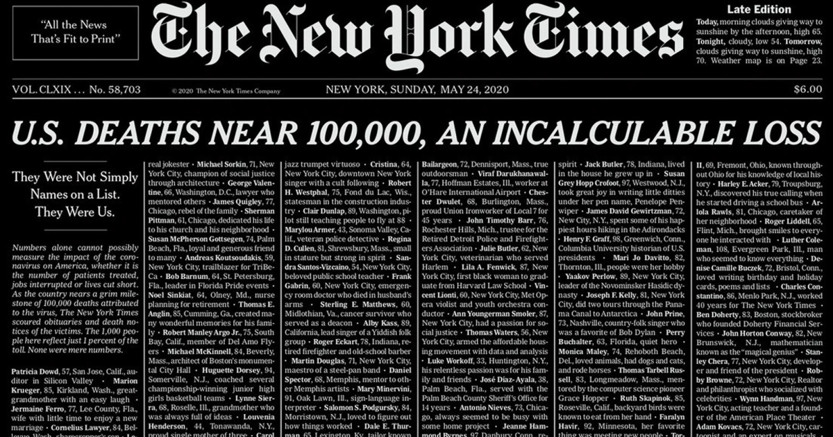 Sunday's Heart-Wrenching New York Times Cover Marks Almost ...
