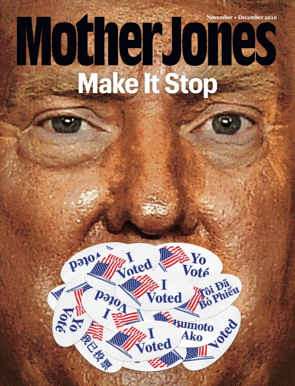 Mother Jones Magazine Cover : November + Decenber 2020